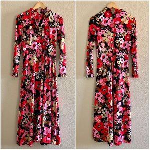 🌻Vintage🌻 70's Red Floral Full Length Dress S
